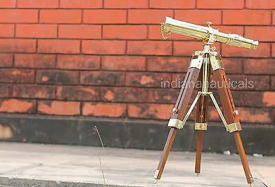 Shiny Brass Spyglass Maritime Nautical Telescope With Wooden Tripod Stand Decor.