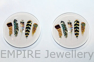 1 x Five Bird Feathers 25x25mm Glass Dome Cabochon Cameo