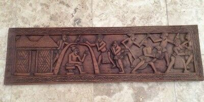 Large Vintage Ethnic / South American Hand Carved Wooden Plaque
