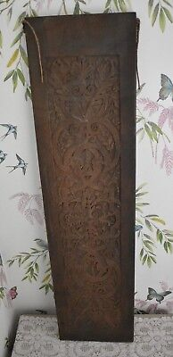 Vintage Wooden Rectangle Panel Plaque Carved Wood