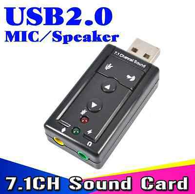 USB SOUNDKARTE 7.1 3D Surround Sound Audio Adapter Skype Game DVD DJ Mic VOIP