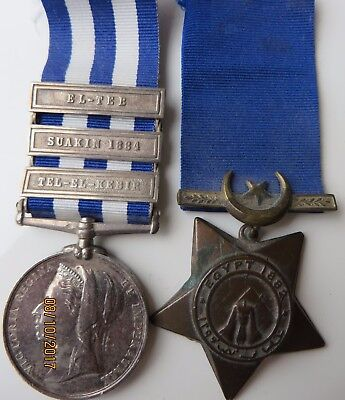 Egypt 1882-9 3 Clasps To Hounsell K.r.rifles + Khedives Star