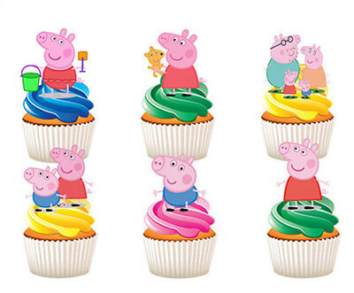 12 Stand Up Peppa Pig Edible Cupcake Cup Cake Decoration Party Images Toppers