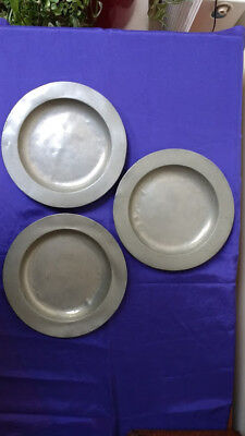 3 19th Century Pewter Plates/Dishes