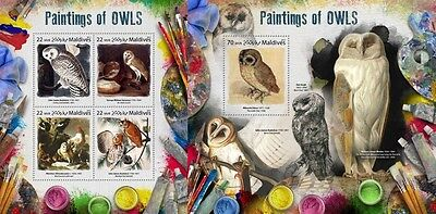 Z08 IMPERF MLD17806ab MALDIVES 2017 Paintings of owls MNH Mint Set