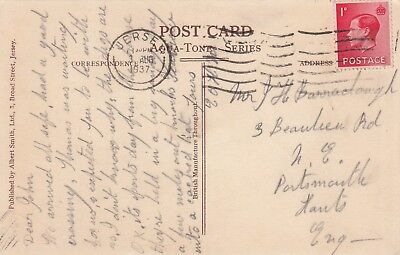 R 2442 Jersey August 1937 postcard to Portsmouth; 1d red KEVIII stamp