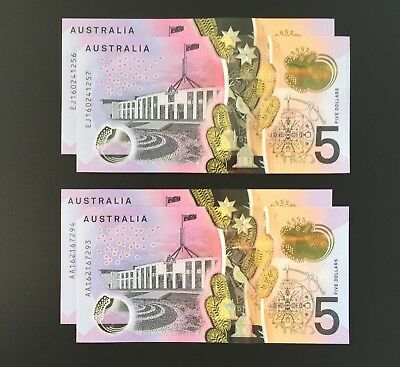 Unc Aa16/ej16 Consecutive Pairs First And Last Prefix 2016 $5 Notes