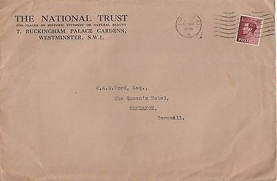 R 745 National Trust London Nov 1936 cover to Cornwall; 1 1/2 rate KEVIII stamp