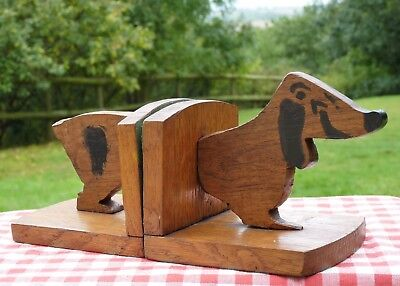 QUIRKY NOVELITY VINTAGE 1940s WOODEN OAK DOG BOOKENDS * SHABBY CHIC