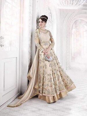 Stunning Glossy Sapphire Anarkali Gown Wedding Party Indian Salwar Kameez