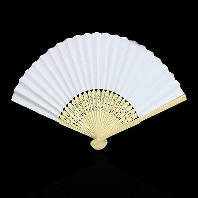 Newly Blank White Chinese Folding Bamboo Fan Retro Hand Paper Fans Wedding Favor
