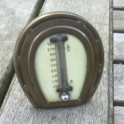 Small Antique Brass & Bone Horseshoe Desk Table Thermometer