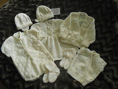 Hand Knitted White 8 Piece knitted Set with 2 Baby vests wool 0-6 Months