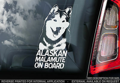 Alaskan Malamute - Dog Car Window Sticker - Wolf Dog On Board Sign, n.Husky