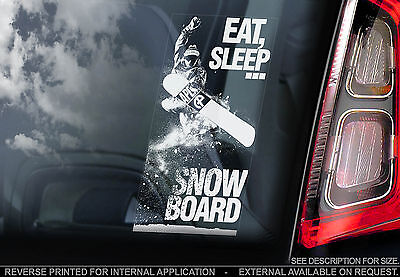 'EAT, SLEEP, SNOWBOARD' - Car Window Sticker - Snow Ski X Decal Skiing Olympics