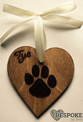 Personalised Wooden Dog Cat Paw Print Christmas Tree Decoration Memory Love Gift