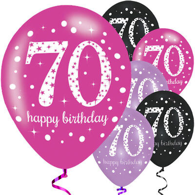 """6 x 70th Birthday Various Colours Mix 11"""" Latex Balloons Party Century Age 72727"""