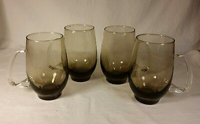 Libbey Tempo Beer Mugs 16 oz Lot of 4 Tawny Smoke Brown Applied Handle Tumbler