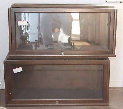 2 Replacement Barrister Lawyer Bookcase Shelf w/ Original Glass Oak Sectional