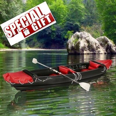 Inflatable Kayak Canoe Folding Boat Sea Lake Fishing Camping Rafting Sporting