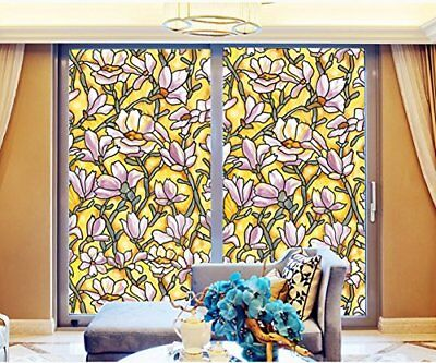 Gold Magnolia Static Cling Stained Glass Door Window Film Bedroom Bathroom Decor