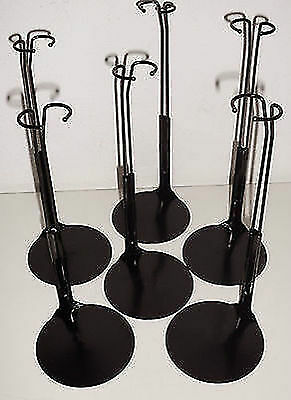 6 Piedistalli Neri X Barbie / Fashion Doll Stands Supporto In Metallo Nuovi