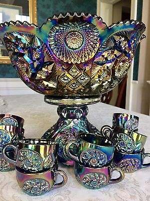 **RARE** Westmoreland Black Carnival Buzz Saw Punch Bowl, Pedestal  + 12  Cups