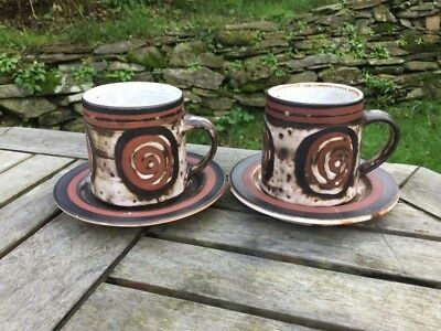 2 Briglin Pottery Retro Abstract Swirl Pattern Tea Cups & Saucers