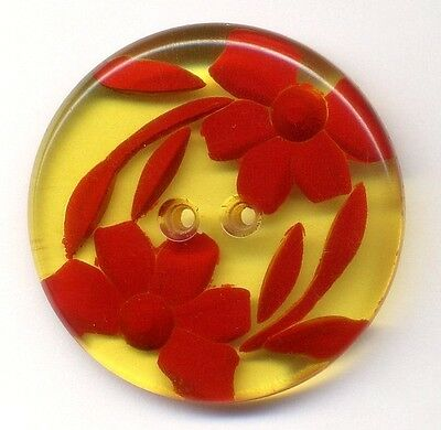 Vintage Button…Large Applejuice Bakelite…Undercarved and Painted Red Flowers