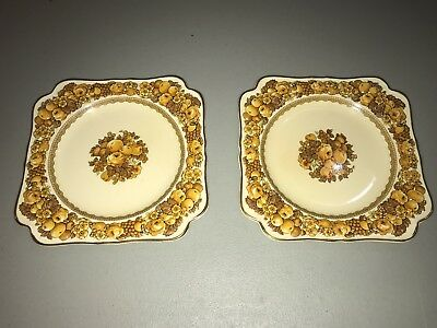 Crown Ducal China Florentine Cream Color Square Salad Plate England Set of 2