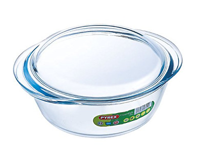 Pyrex Round Casserole Borosilicate Glass Dish Baking Oven Safe Microwave 1.6 Ltr