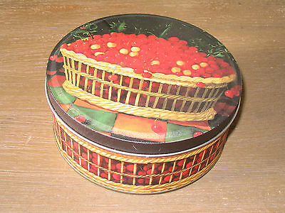 Red Berries Basket Round Metal Cookie Candy Thanksgiving Box /  2.5 x 6 inches