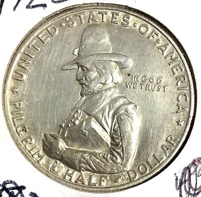 1920 AU PILGRIM Commemorative SILVER Half Dollar! Old US Coins!