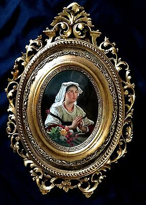 Antique Kpm Hand Painted Porcelain Plaque From 19 Century Germany.