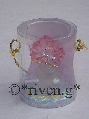 BUNCH OF 12 x PINK ROSES@BOUQUET OF FLOWERS VASE@LOVING GIFT@22Ct Gold LOVE BUDS