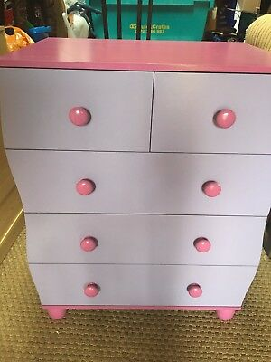 Purple & pink children's chest of drawers and bedside table from Next