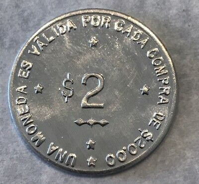 "Puerto Rico Token 1970 ""fashion Guns & Armory"" 2 Dollar Aluminum Coin Gem Bu"