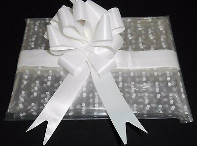 White Dot Cellophane 1m - 2m - 3m with White or Red 30mm Pull Bow, Gift Wrap