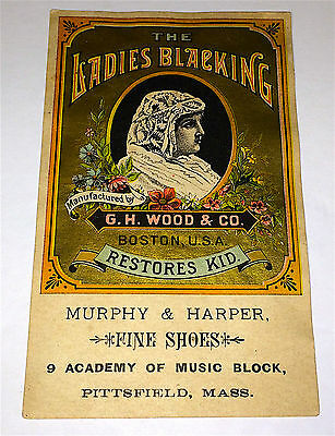 Antique Victorian Ladies Blacking Shoe Leather Dressing, Advertising Trade Card!