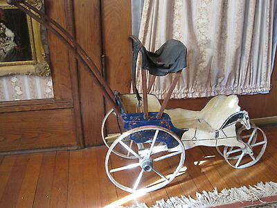 Antique Doll Carriage Hand Painted Wood All Original