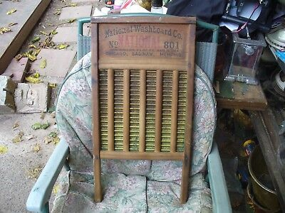 Antique Brass And Wood Washboard ~ National Washboard Co. No 801