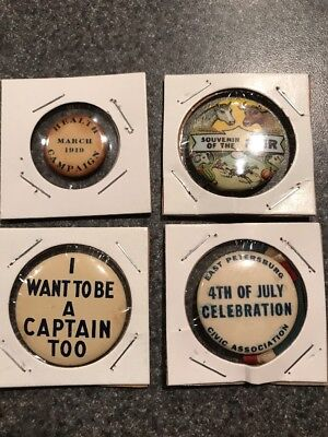Lot Of 4 Vintage State Fair 4th Of July I Want To Be Captain Button Pin Back