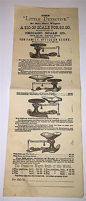 """Antique Victorian """"The Little Detective"""" Chicago Scale Co. Advertising Broadside"""