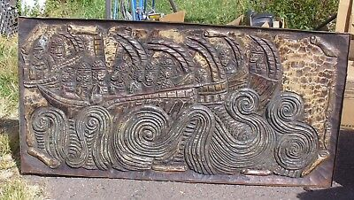 Unusual Hand Carved Coffee Table ~ Natives Riding The Wave