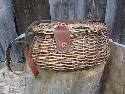 Vintage Antique French Trout Fly Fishing Basket Weave Trout
