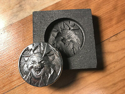 WOLF Coin Graphite mold for Silver - Gold - Glass works Ingot casting copper