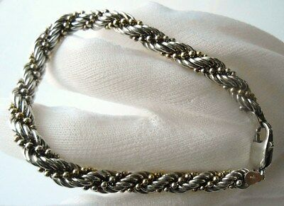 """Milor Italy Vintage Sterling Silver Beaded Rope 8"""" long Signed"""