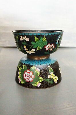Chinese Black Cloisonne Finger Bowls w/ Flowers Black & Turquoise Lot Of Two (2)