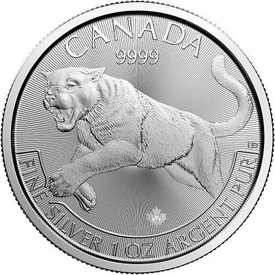 2016 1 oz CD Silver Cougar Predator Series $5 Coin .9999 Fine - (25 coin tube)
