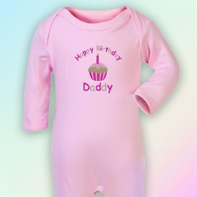 Happy Birthday Daddy Embroidered Baby Romper Babygrow Gift Dad Father Cute